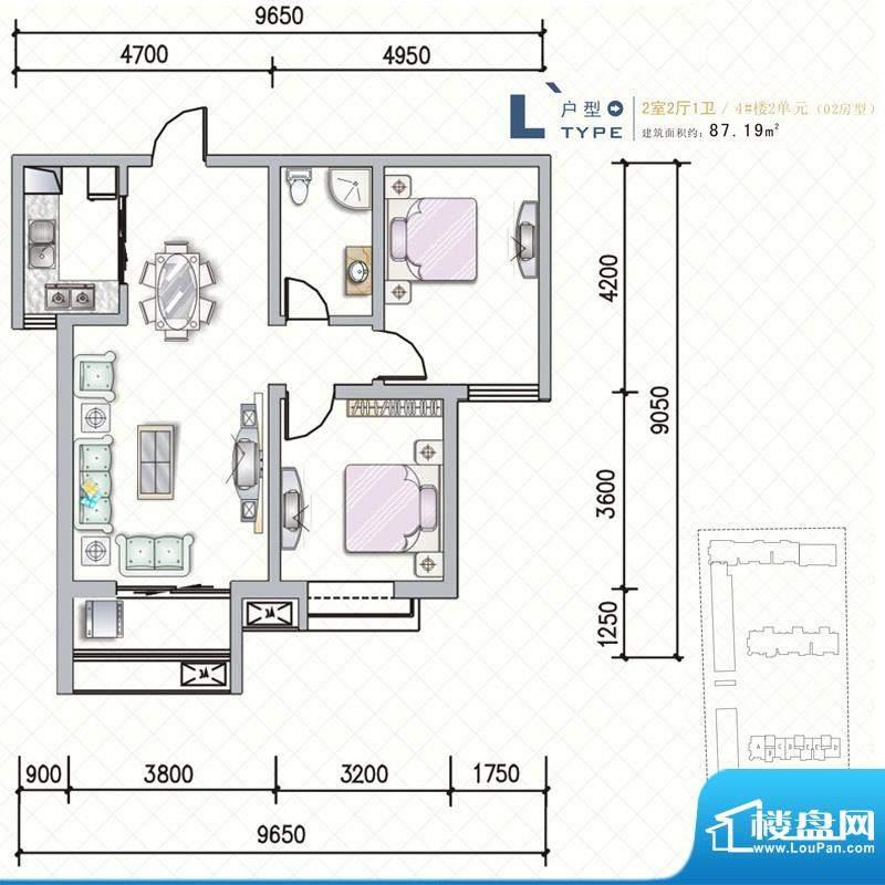 天水丽城户型图4号楼 L户型2面积:87.19平米