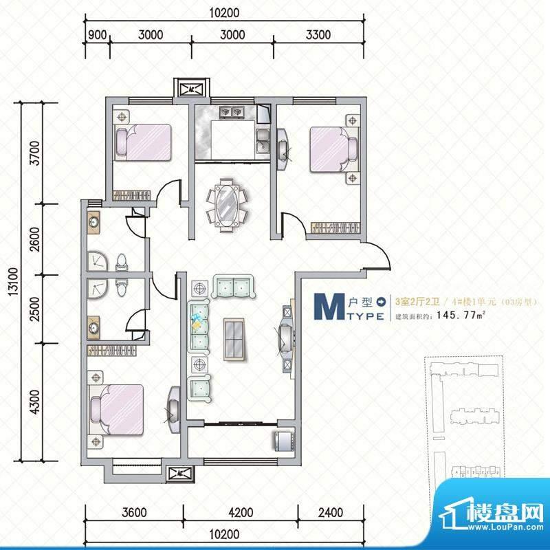 天水丽城户型图4号楼 M户型3面积:145.77平米