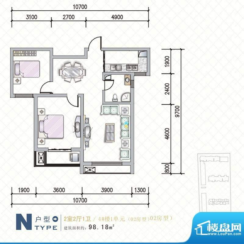 天水丽城户型图4号楼 N户型2面积:98.18平米
