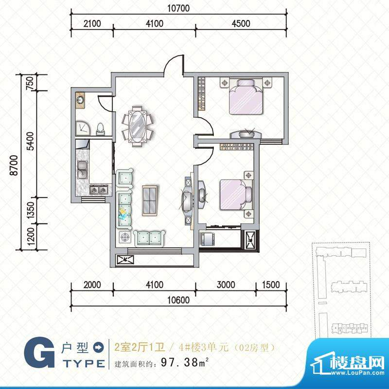 天水丽城户型图4号楼 G户型2面积:97.38平米