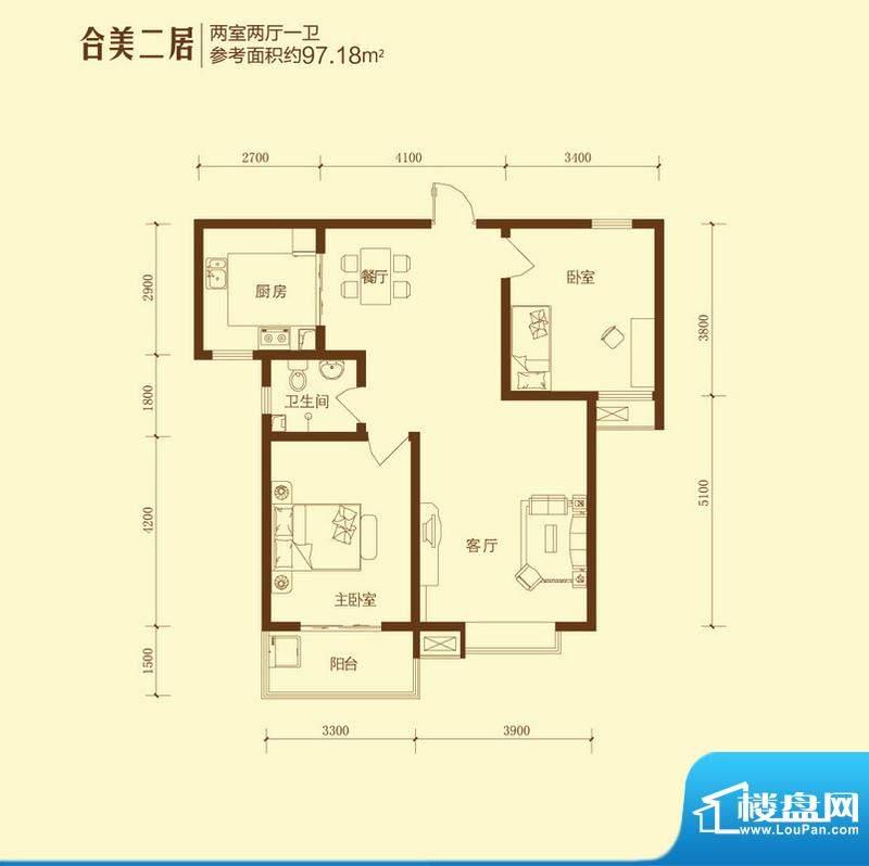 和合美家户型图合美二居2室2面积:97.18平米