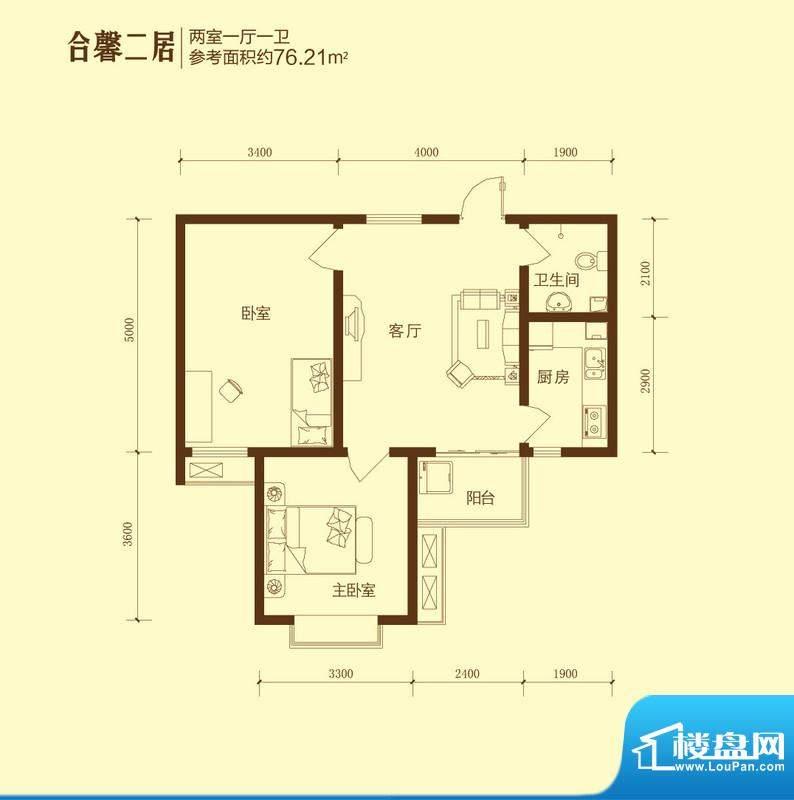 和合美家户型图合馨二居2室1面积:76.21平米
