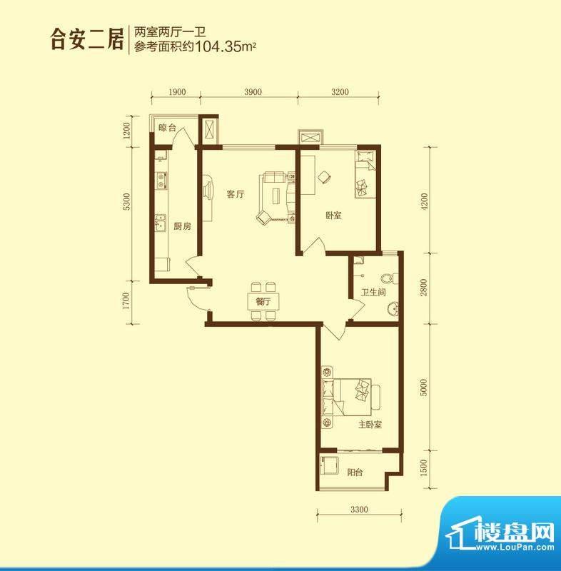 和合美家户型图合安二居2室2面积:104.35平米