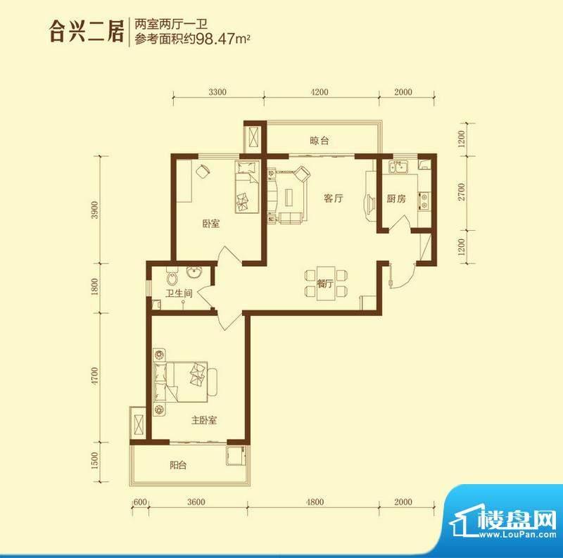 和合美家户型图合兴二居2室2面积:98.47平米