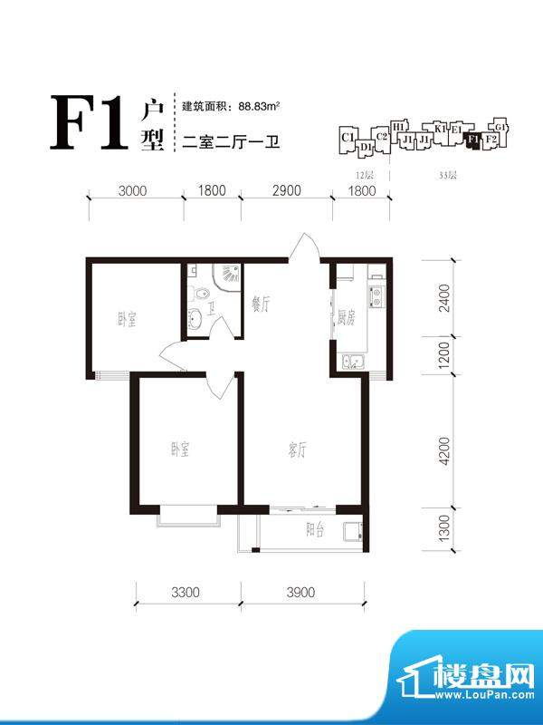 珠峰国际花园三期户型图26#F1户面积:88.83平米