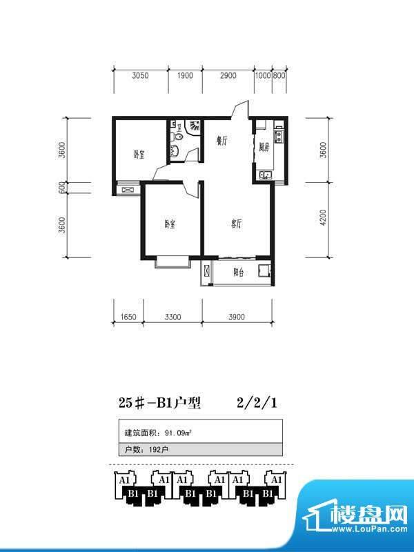 珠峰国际花园三期户型图25号楼面积:91.09平米