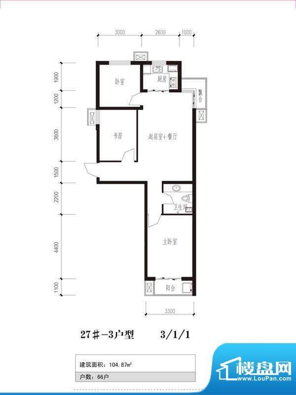 珠峰国际花园三期户型图27号楼面积:104.87平米