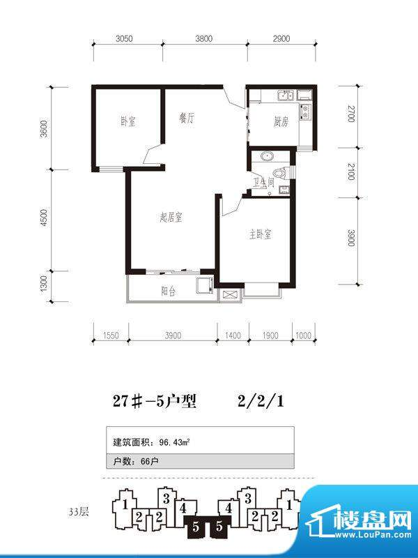 珠峰国际花园三期户型图27号楼面积:96.43平米