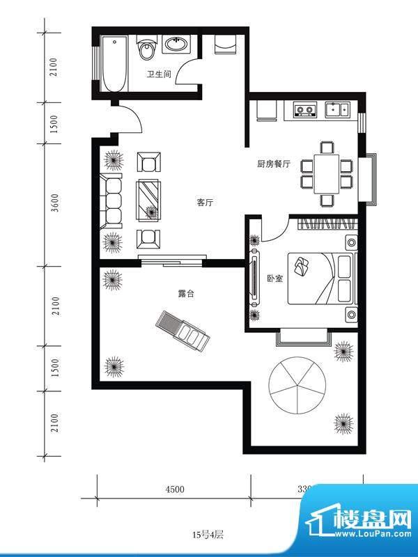 水郡花洲户型图15号4层 1室2厅面积:74.00平米