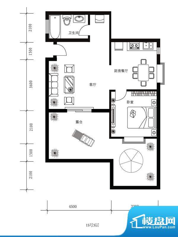水郡花洲户型图15号3层 1室2厅面积:71.00平米
