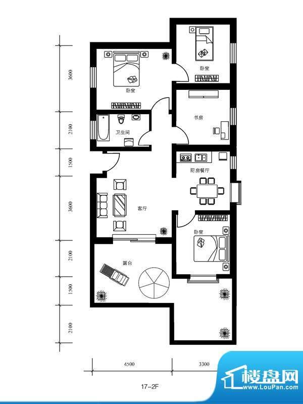 水郡花洲户型图17-2F 4室2厅1卫面积:126.00平米