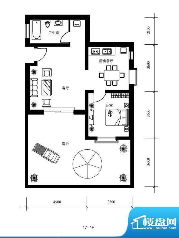 水郡花洲户型图17-1F 4室2厅1卫面积:137.00平米