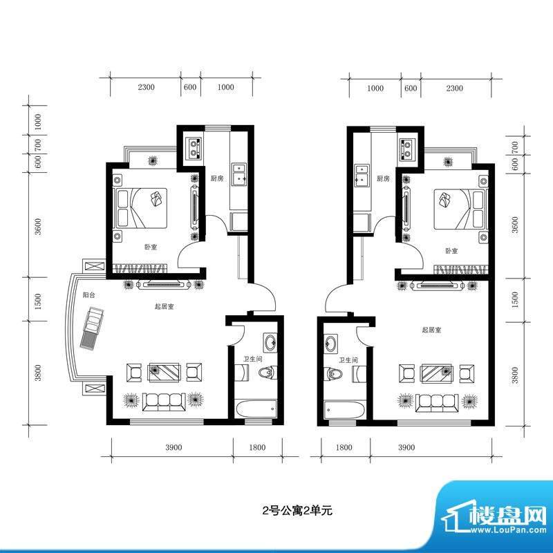 水郡花洲户型图2号公寓-2单元 面积:61.00平米