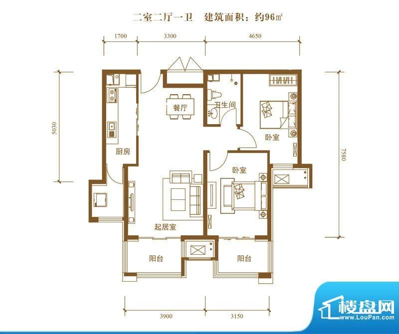 中景盛世长安户型图19号楼B6户面积:96.00平米