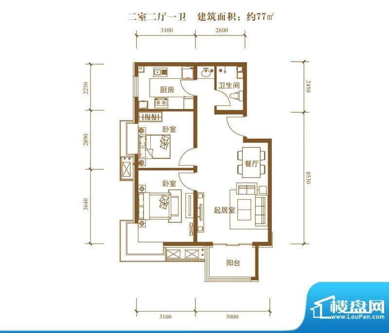 中景盛世长安户型图19号楼B5户面积:77.00平米