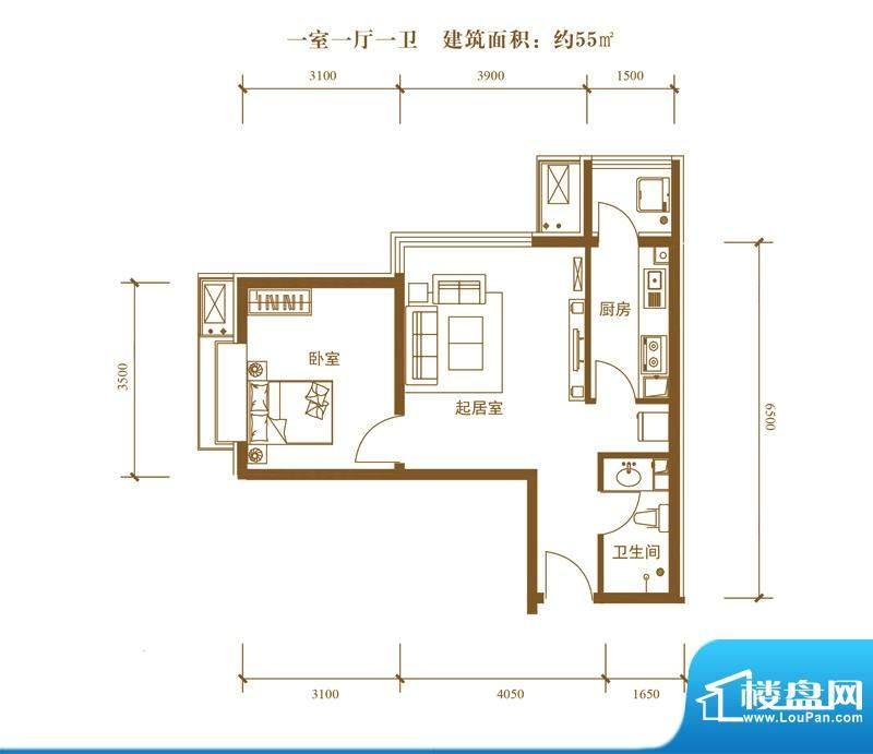 中景盛世长安户型图19号楼A户型面积:55.00平米
