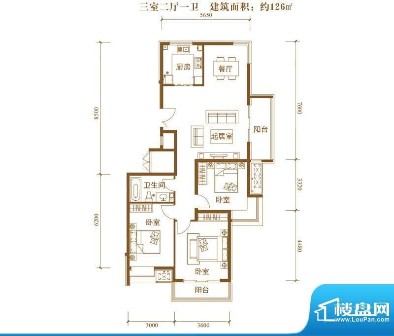 中景盛世长安户型图14号楼C1户面积:126.00平米