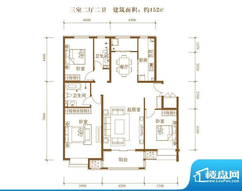 中景盛世长安户型图14号楼C2户面积:152.00平米