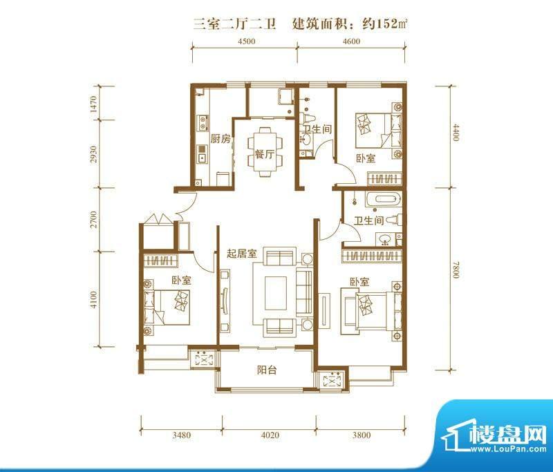 中景盛世长安户型图14号楼C3户面积:152.00平米