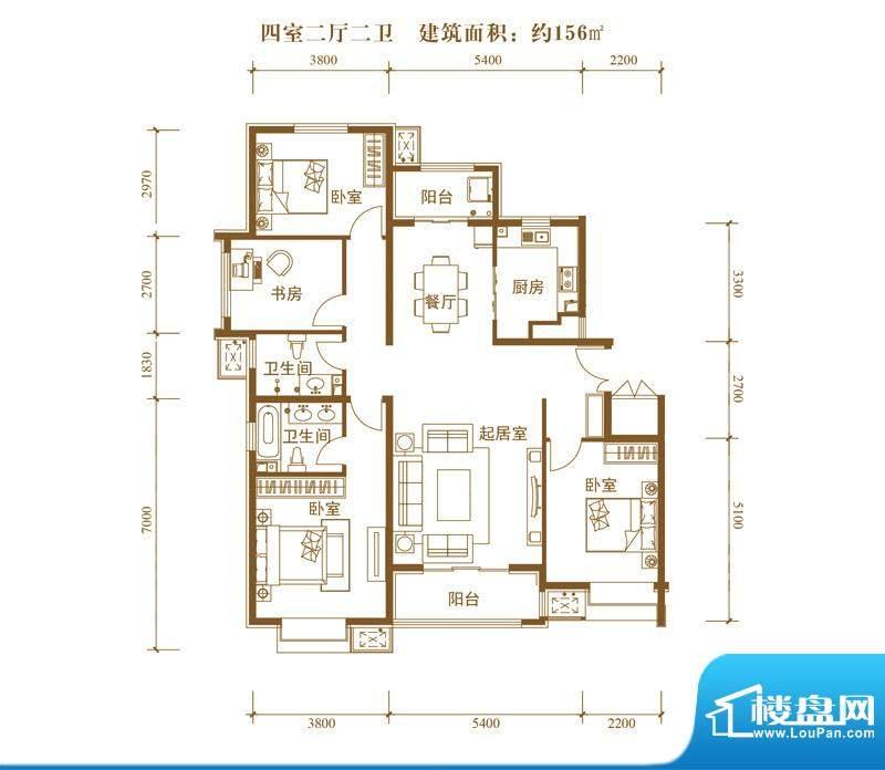 中景盛世长安户型图14号楼D1户面积:156.00平米