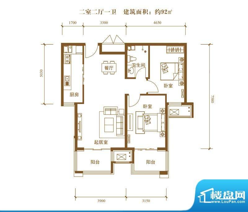 中景盛世长安户型图19号楼B7户面积:92.00平米