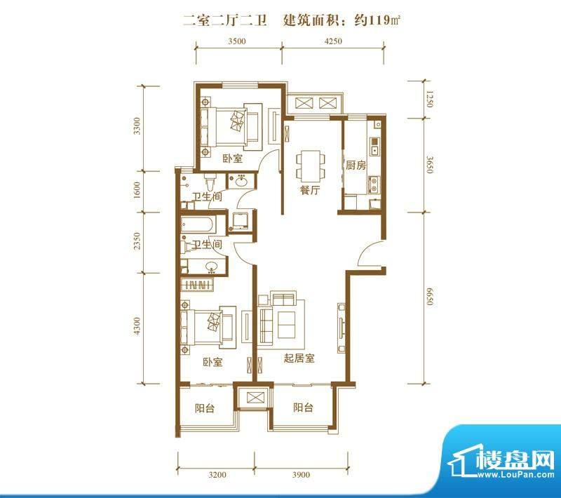 中景盛世长安户型图19号楼B9户面积:119.00平米