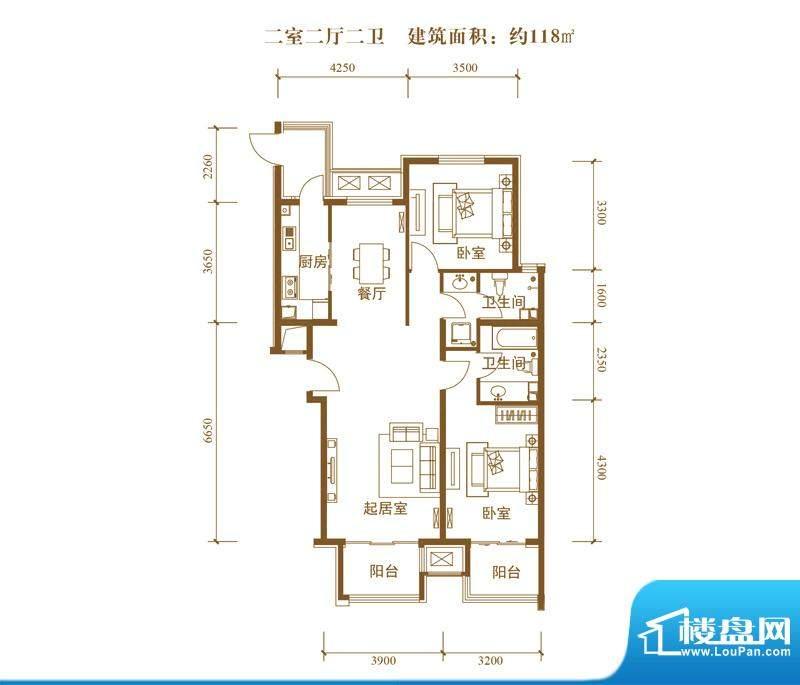中景盛世长安户型图19号楼B8户面积:118.00平米