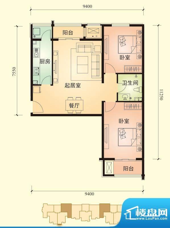 中景盛世长安户型图13号楼B2户面积:102.00平米