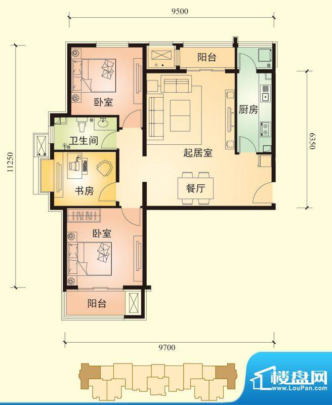 中景盛世长安户型图13号楼C7户面积:109.00平米