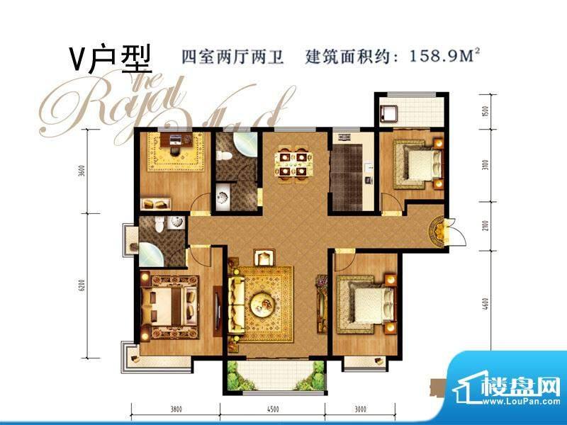 同祥城户型图V户型 4室2厅2卫1面积:158.90平米