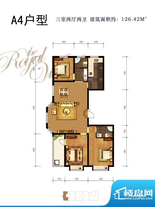同祥城户型图A4户型 3室2厅2卫面积:126.42平米