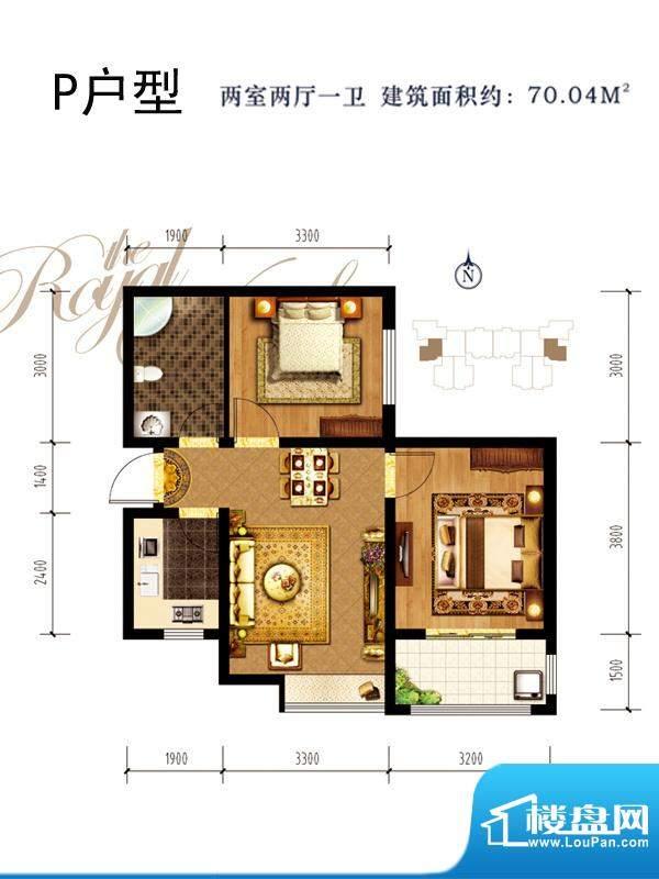 同祥城户型图P户型 2室2厅1卫1面积:70.04平米