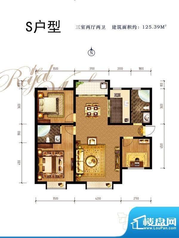 同祥城户型图S户型 3室2厅2卫1面积:125.39平米