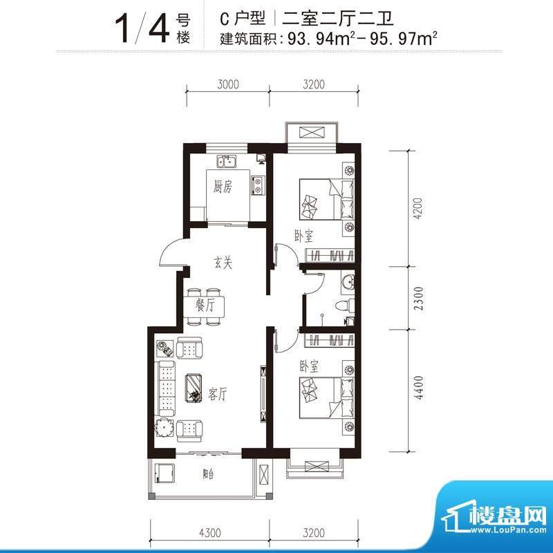 花溪里户型图1/4号楼C户型 2室面积:95.97平米