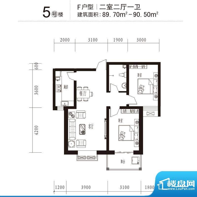 花溪里户型图5号楼F户型 2室2厅面积:90.50平米