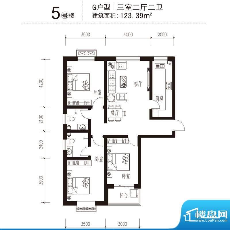 花溪里户型图5号楼G户型 3室2厅面积:123.39平米