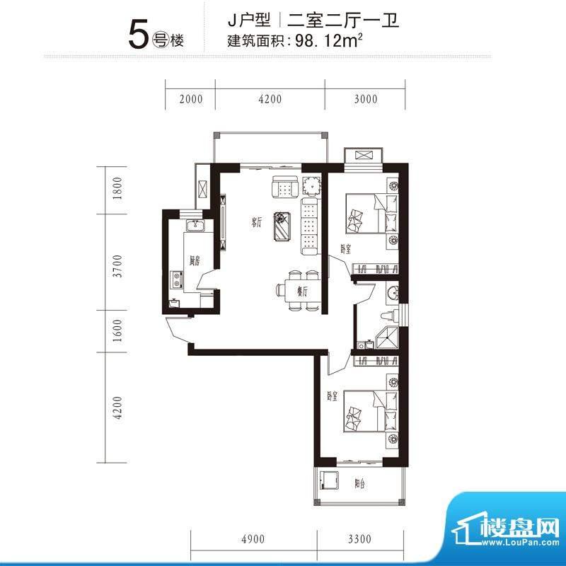 花溪里户型图5号楼J户型 2室2厅面积:98.12平米