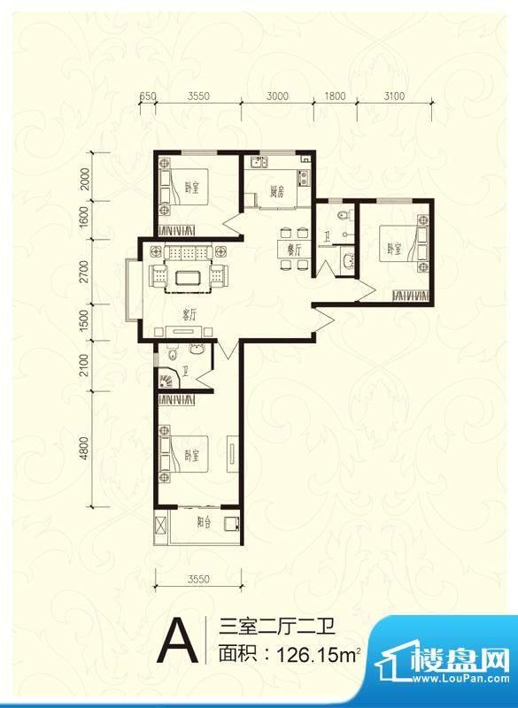 芝兰明仕二期户型图户型-A 3室面积:136.20平米