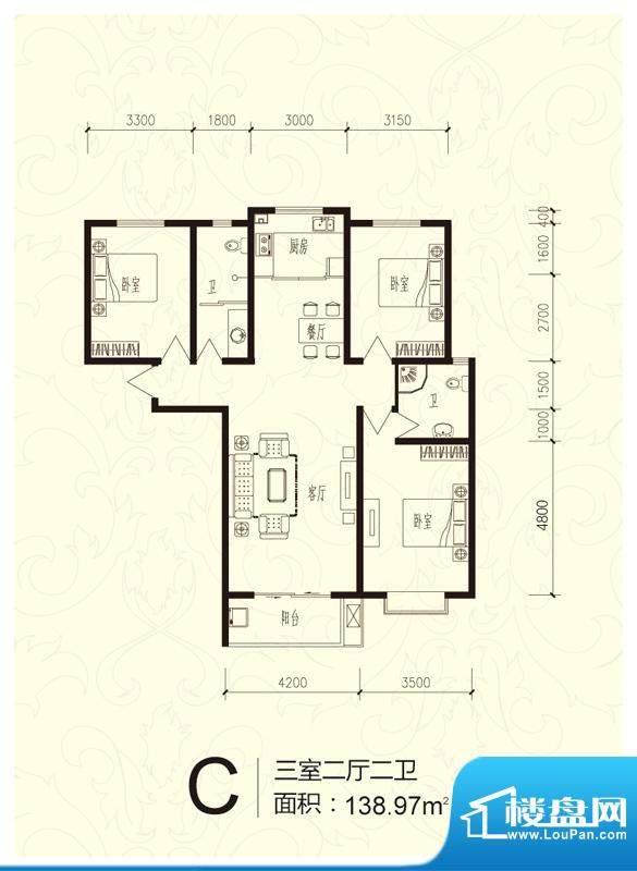 芝兰明仕二期户型图户型-C 3室面积:138.97平米