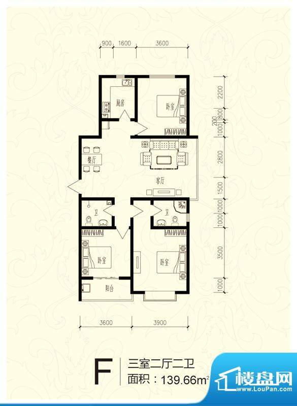 芝兰明仕二期户型图户型-F 3室面积:139.66平米