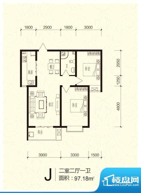芝兰明仕二期户型图户型-J(售面积:97.18平米