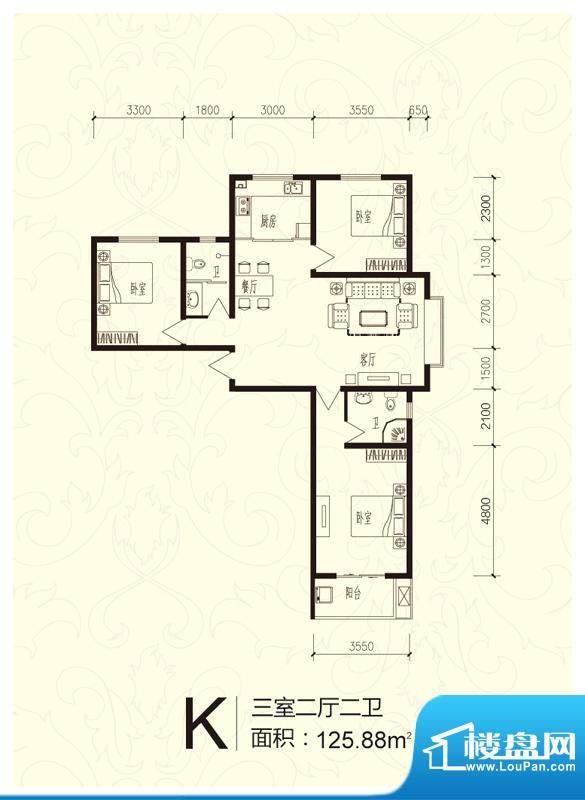 芝兰明仕二期户型图户型-K(售面积:125.88平米