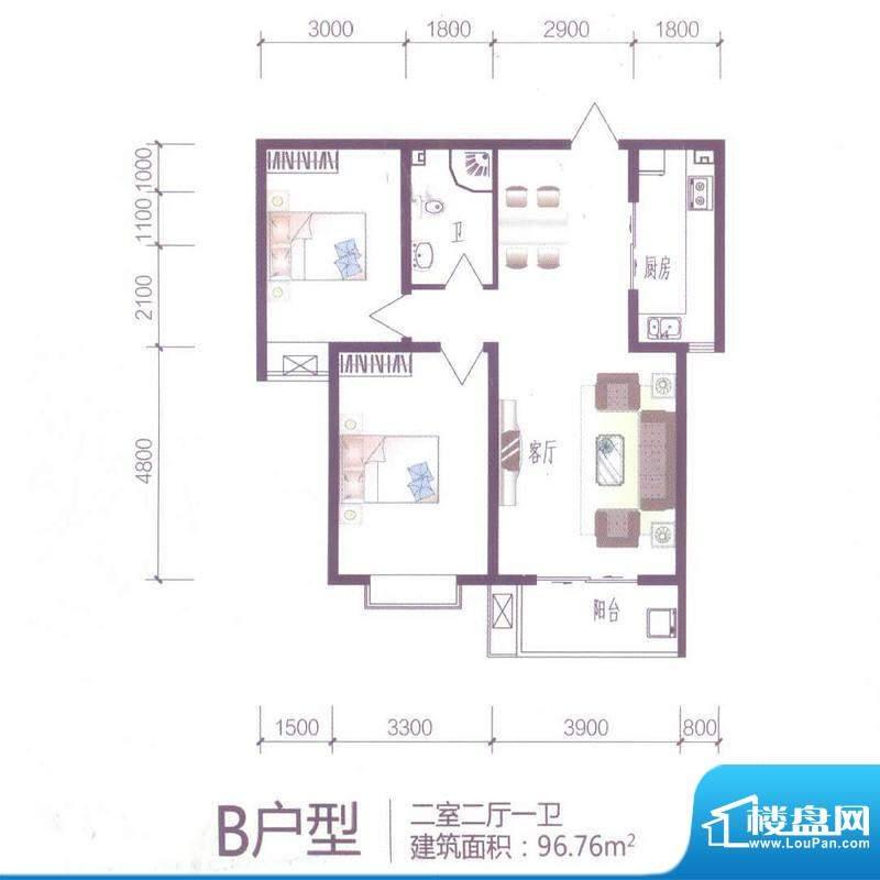 芝兰明仕二期户型图B户型96.76面积:96.76平米