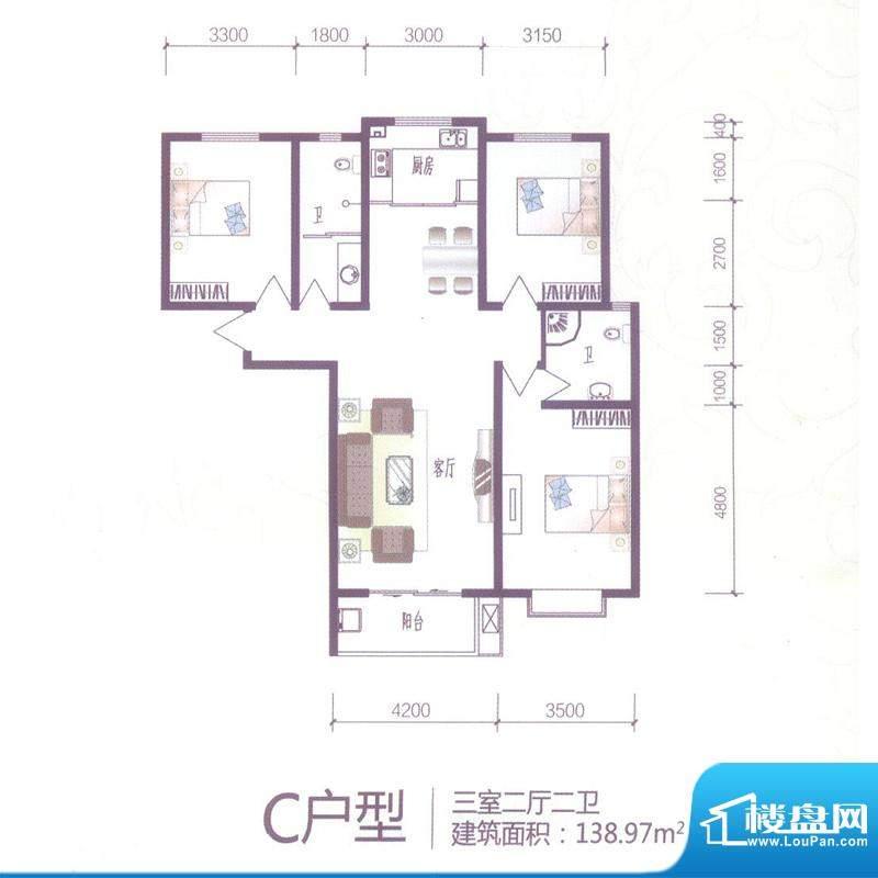 芝兰明仕二期户型图C户型138.9面积:138.97平米