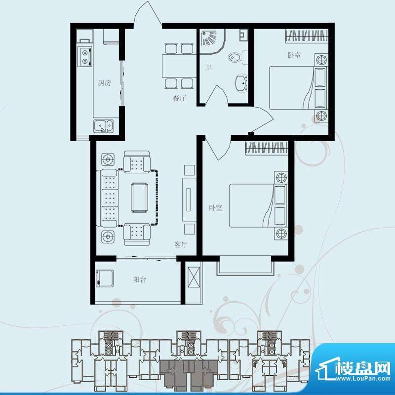 北部时光户型图D5 两室两厅一卫面积:91.52平米
