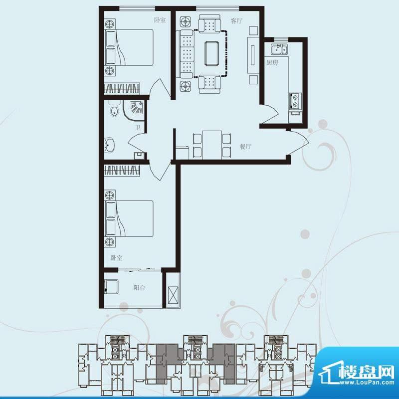 北部时光户型图D4 两室两厅一卫面积:92.13平米