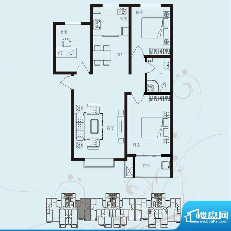 北部时光户型图D3 三室两厅一卫面积:115.04平米