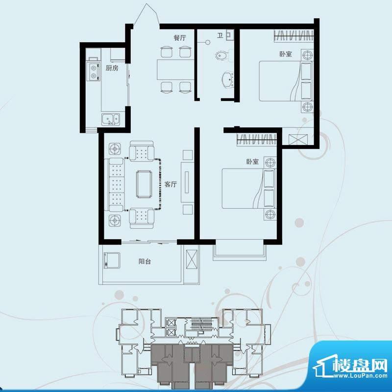 北部时光户型图B2 两室两厅一卫面积:85.42平米