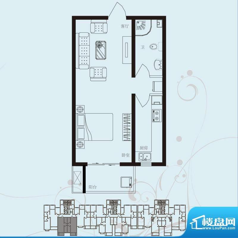 北部时光户型图D2 一室一厅一卫面积:59.12平米
