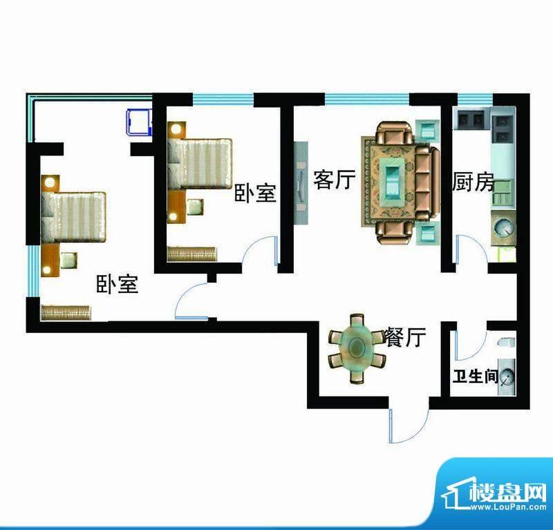 翰林雅筑户型图6号楼A户型 2室面积:91.82平米